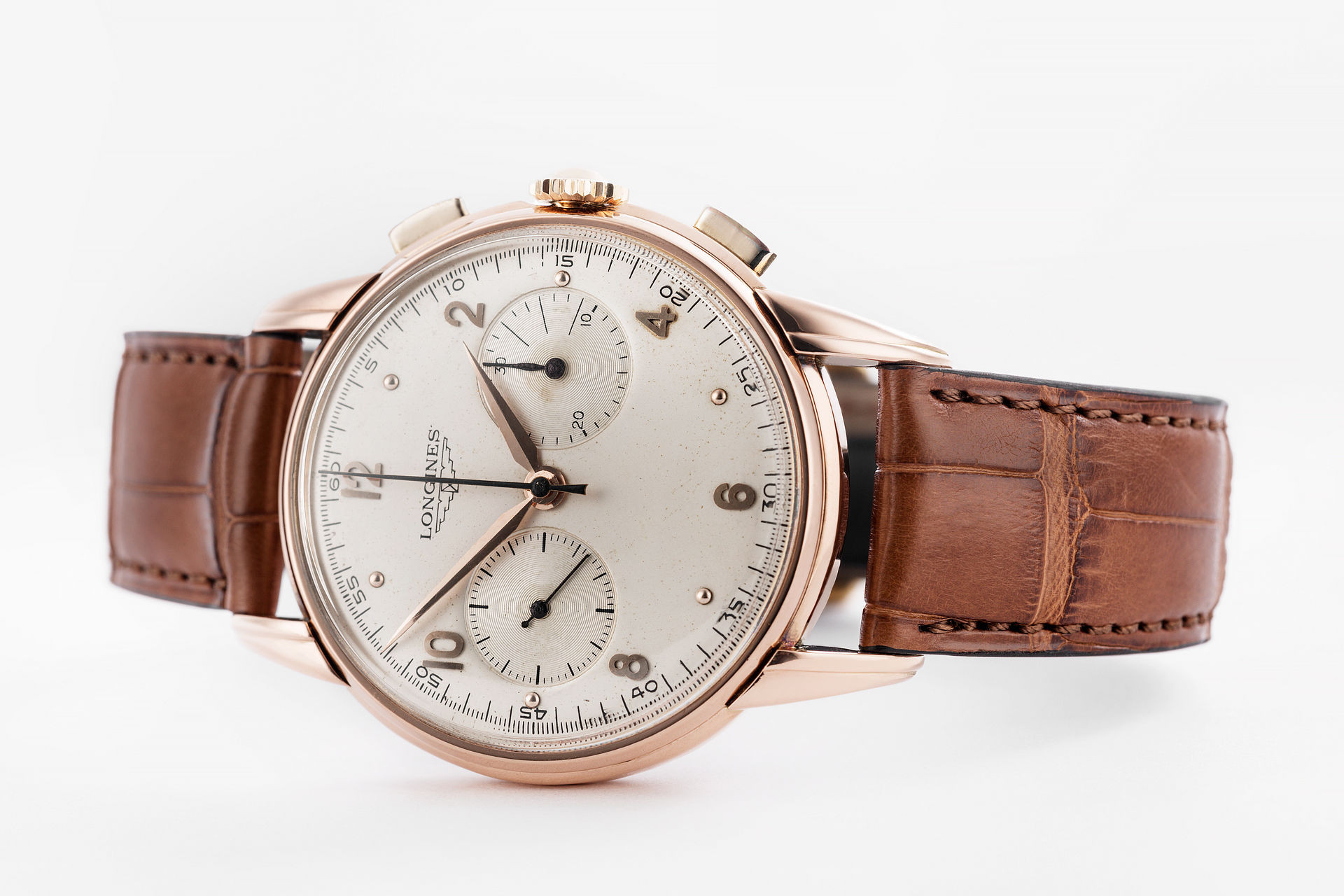 ref 5449 | Vintage 18ct Rose Gold | Longines Chronograph Flyback