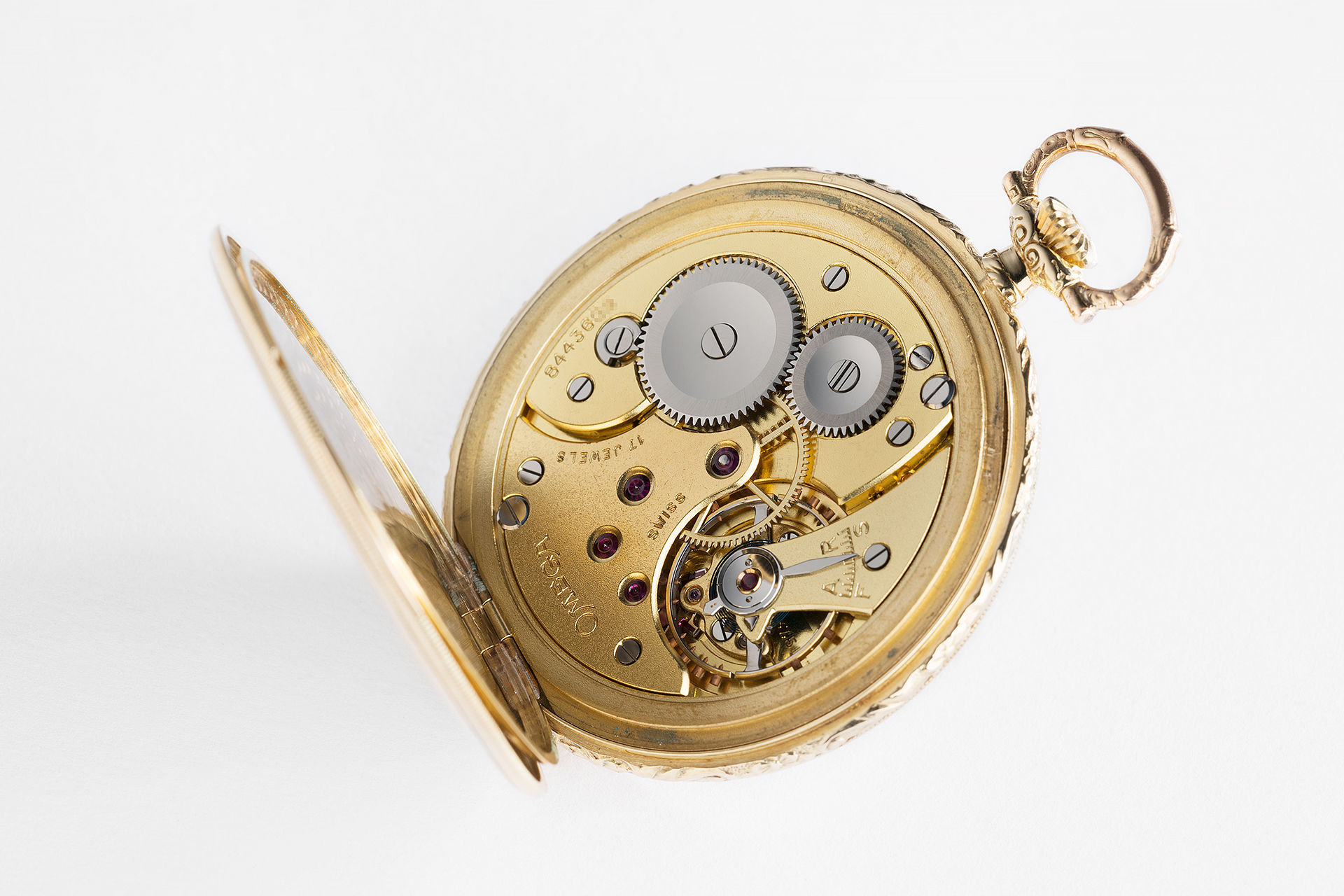 ref OK1042 | 14ct 'Frosted Dial' | Omega Pocket Watch