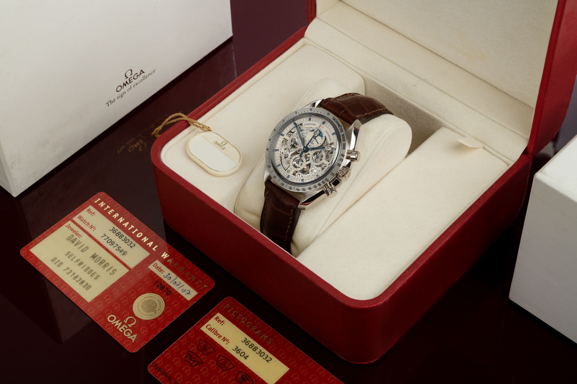 "ref 145.0058 | 'Moonphase' Limited Edition Box & Papers  | Omega Speedmaster Platinum ""One of 57"""