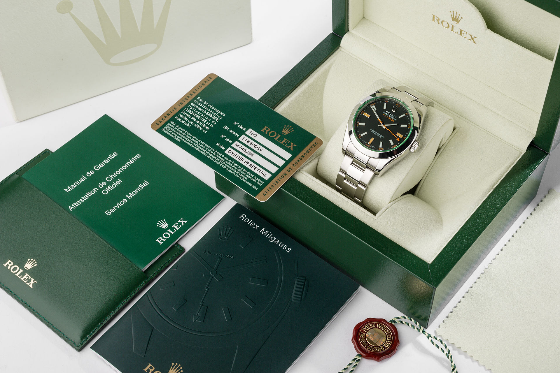 ref 116400GV | Box and Papers | Rolex Milgauss