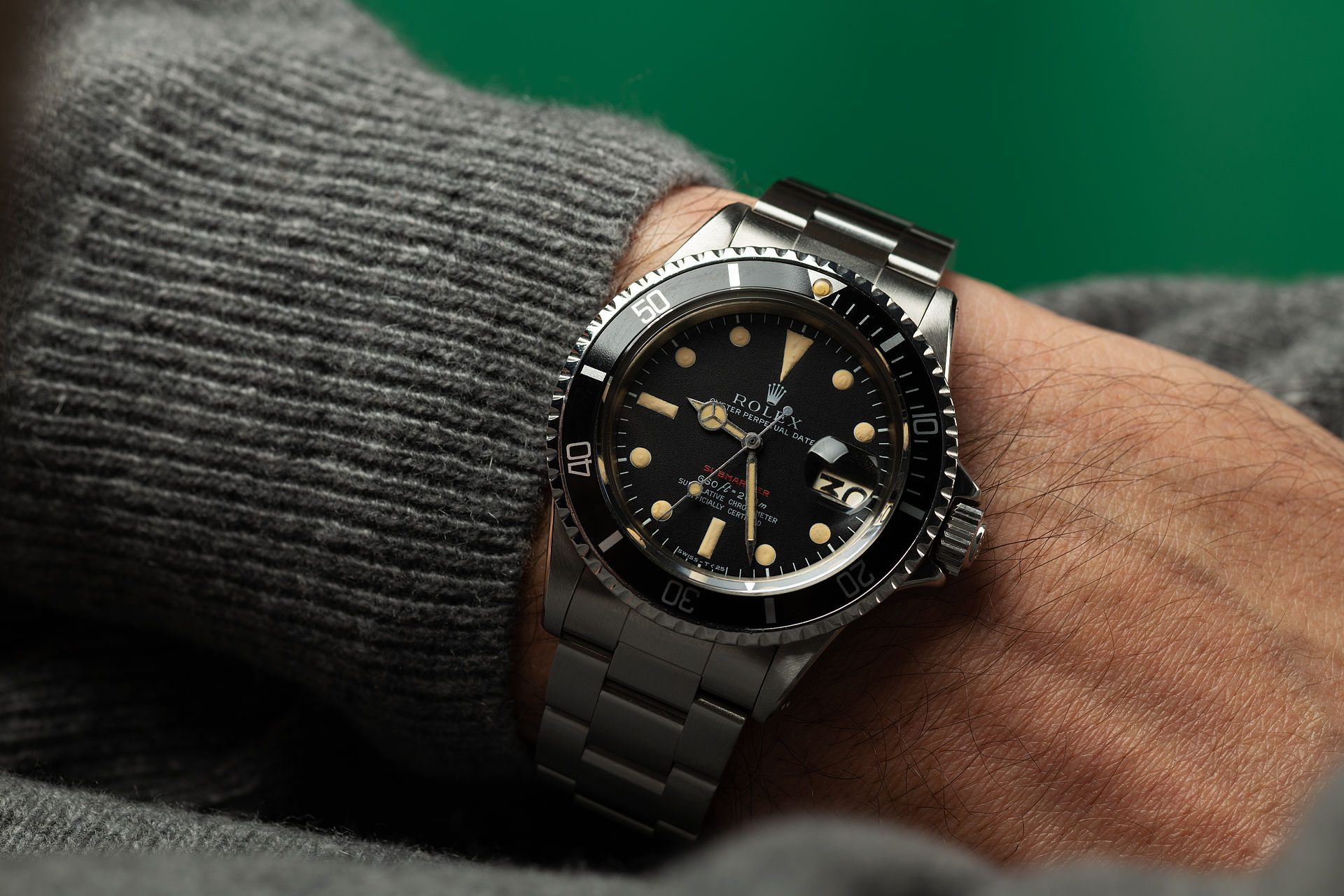 ref 1680 | 'Feet First' Red Writing | Rolex Submariner Date