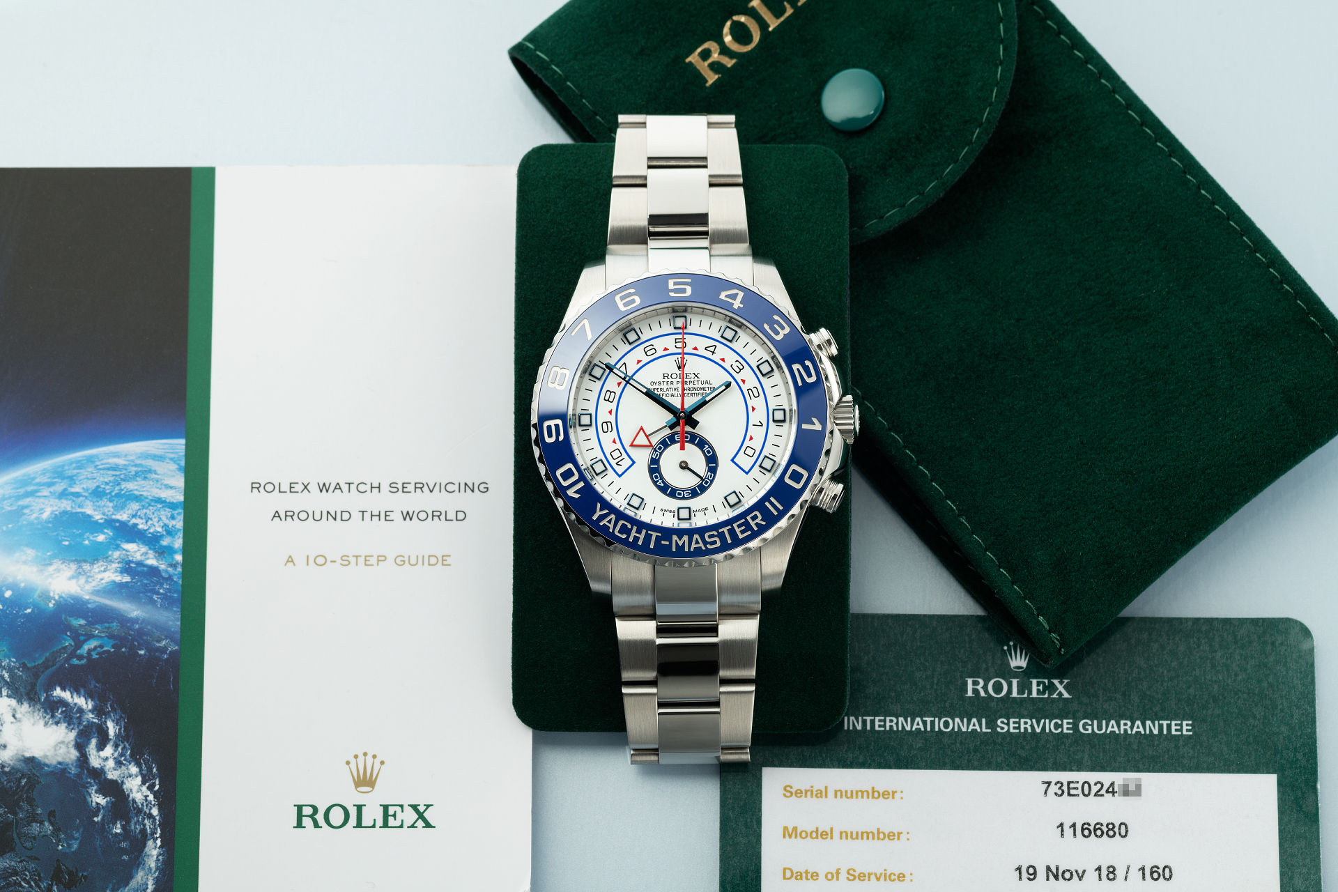"""Serviced by Rolex Nov 2018"" 