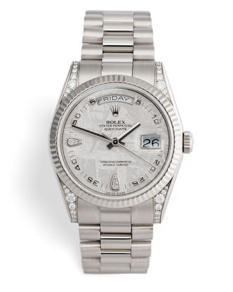 ref 118339 | White Gold - 'Meteorite Diamond Dial' | Rolex Day-Date