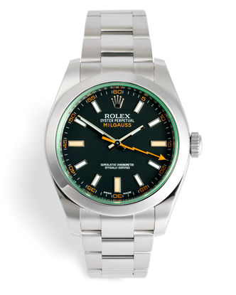 ref 116400GV | 'Green Glass' 5 Year Warranty | Rolex Milgauss