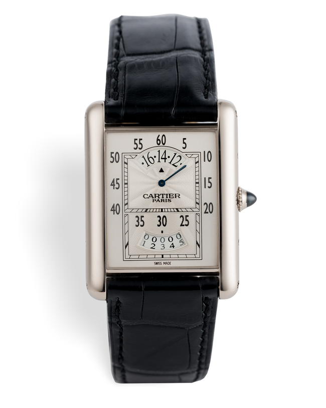 ref 2919 | White Gold 'Wandering Hour' | Cartier Collection Privée Tank
