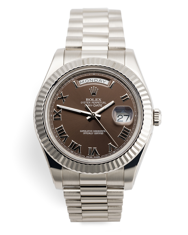 ref 218239 | Brand New - Chocolate Roman  | Rolex Day-Date II