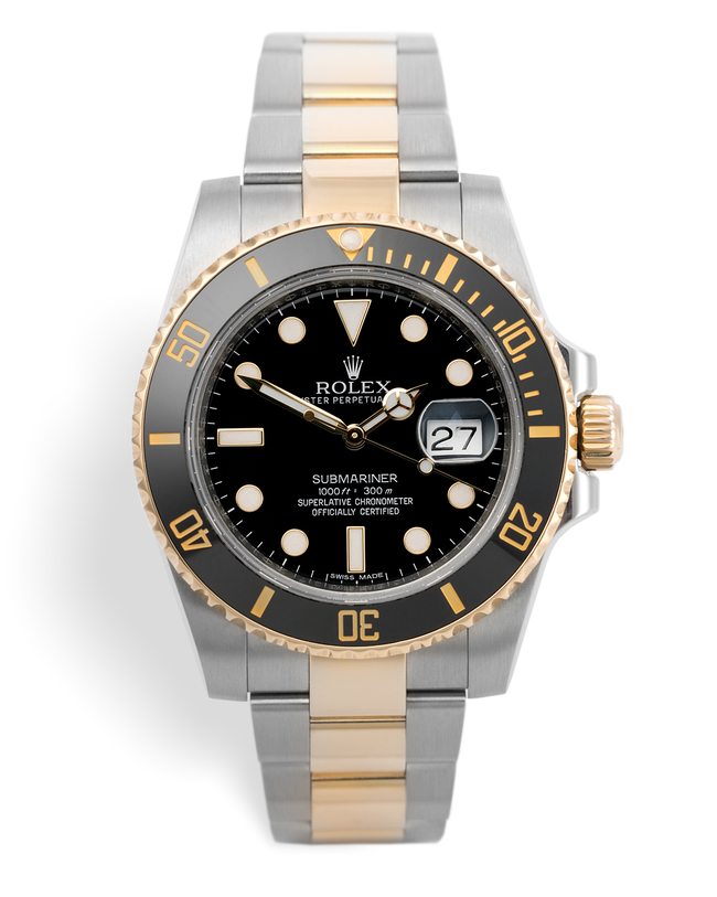 ref 116613LN | Gold & Steel Cerachrom Model | Rolex Submariner Date